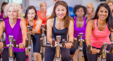 spinning group exercise class