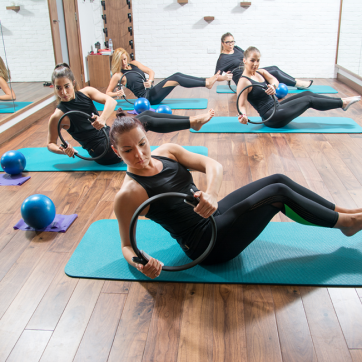 group of women taking a pilates class